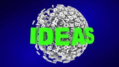Ideas Creativity Imagination Word Letter Sphere Animation - stock footage
