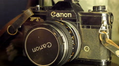 Old model of a camera brand Stock Footage