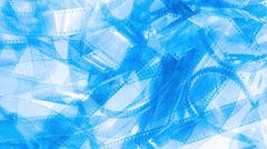 Abstract blue unrolled movie film strip rotation - stock footage