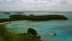 North beach landscape with jet ski, Great Bird Island, Antigua. - stock footage