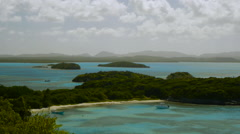 North beach landscape with boats, Great Bird Island, Antigua. Stock Footage