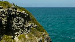 Jagged rocks on east shore, Great Bird Island, Antigua. Stock Footage