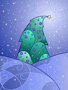 swirly Christmas landscape - stock illustration