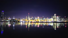 Chicago Cold Night Lake View Stock Footage