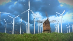 Modern Windmills Ellipse the Old Stock Footage