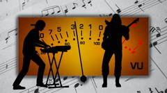 Musicians playing on a musical background Stock Footage
