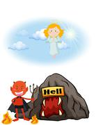 Angel in heaven and devil in hell - stock illustration