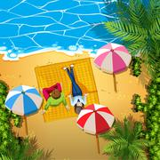 Man and woman relaxing on the beach - stock illustration