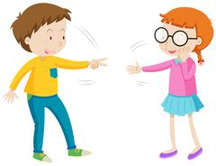 Children playing rock paper scissors Stock Illustration