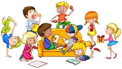 Boys and girls doing different activities - stock illustration