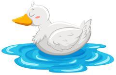 Little duck floating on water - stock illustration