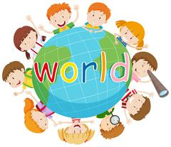 Children smiling around the world - stock illustration