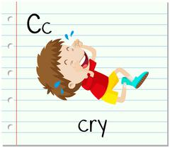 Flashcard letter C is for cry - stock illustration