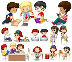 Children reading and learning - stock illustration