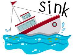 Fishing boat sinking down the ocean - stock illustration