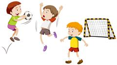 Three boys playing football - stock illustration