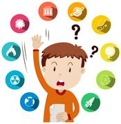 Boy asking questions about school work Stock Illustration