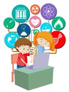 Boy and girl working on computer - stock illustration