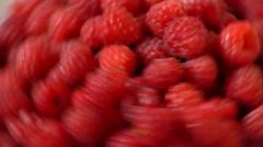 Bunch Of Ripe Raspberry Stock Footage