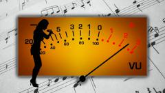 Female singer performing in silhouette against a musical background - stock footage