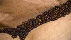Coffee Beans Falling on Bagging Stock Footage