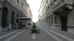 Via San Nicolò with Expo Ristorante in Trieste Stock Footage