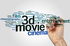 3d movie word cloud - stock photo