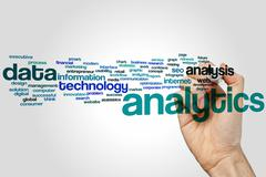 Analytics word cloud - stock photo