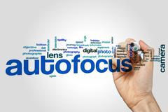 Autofocus word cloud concept Stock Photos