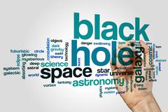 Black hole word cloud Stock Photos