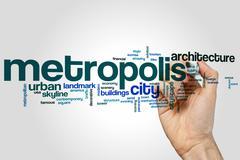 Metropolis word cloud Stock Photos