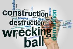 Wrecking ball word cloud - stock photo