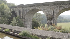Stock Video Footage of World famous Chirk Aqueduct built in 1801 by Thomas Telford