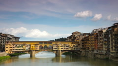 Golden Bridge across Arno river, Florence Stock Footage