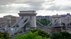 Budapest centre with Szechenyi Chain Bridge Stock Footage