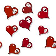 Seamless pattern with red hearts and skulls on white Stock Illustration