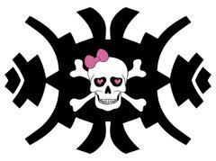 Hipster skull design for girls - stock illustration