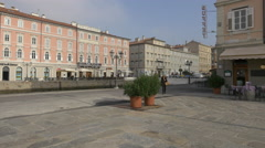 Ponte Rosso square and Via Vincenzo Bellini in Trieste Stock Footage