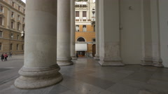 The imposing columns of Sant Antonio Nuovo Church in Trieste - stock footage