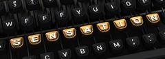 Typewriter with SENSATION gold buttons - stock illustration