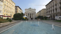 Beautiful fountain in front of Piazza Sant Antonio Nuovo, Trieste - stock footage