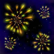 Fireworks in the dark sky - stock illustration