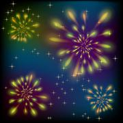 Fireworks on a colorful sky Stock Illustration