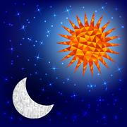 Sun and moon in the sky. Polygonal graphics. - stock illustration