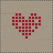 Heart shape. Cross-stitch, embroidery. Canvas Stock Illustration