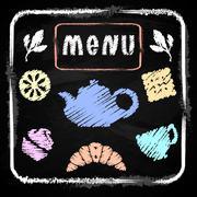Chalk board. Menu for cafe. Set Time tea - stock illustration