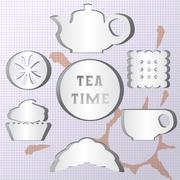 Set of tea time. Effect of the shadow - stock illustration