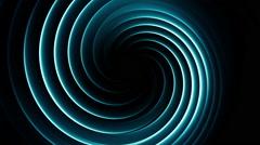 Stock Video Footage of Twirl Tube - Light Spiral - Cyan on Black - Seamless Loop