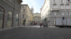 Sant Antonio Nuovo church seen from Via delle Torri in Trieste - stock footage