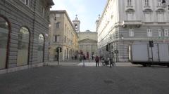 Sant Antonio Nuovo church seen from Via delle Torri in Trieste Stock Footage